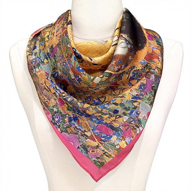 Целувката на Климт, квадратен шал от сатен