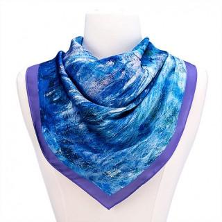 Водни лилии и отражение на върба, квадратен шал от сатен
