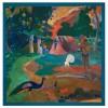 Пейзаж с пауни на Пол Гоген, квадратен шал от сатен