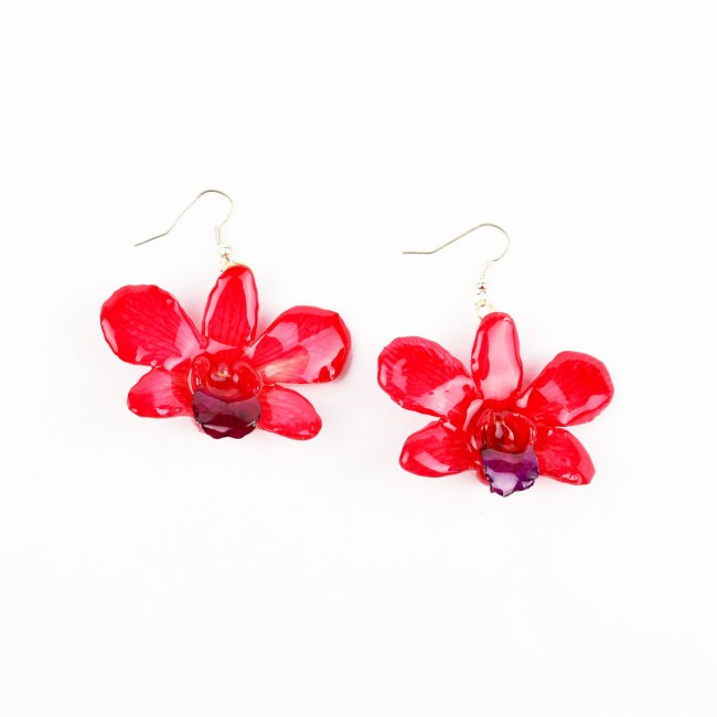 Обици Орхидея Дендорбиум, червени