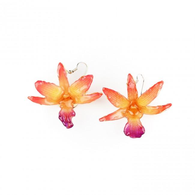 Обици Орхидея Дендорбиум Драконис, оранжеви