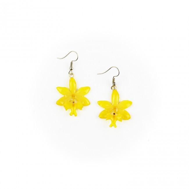 Обици Орхидея Епидендрум, жълти