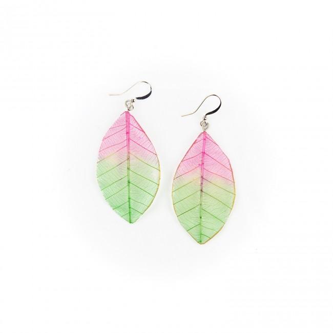 Обици листо, розово-зелени