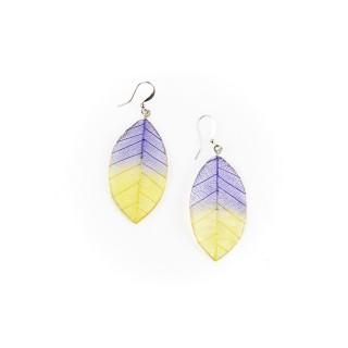 Обици листо, лилаво-жълти