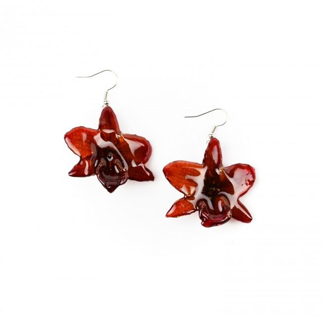 Обици Орхидея Дендробиум Париши, червени