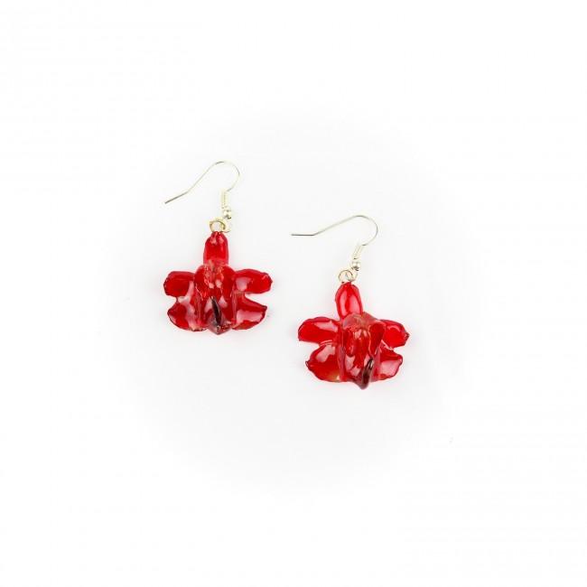 Обици Орхидея Аеридис Розеа, червени
