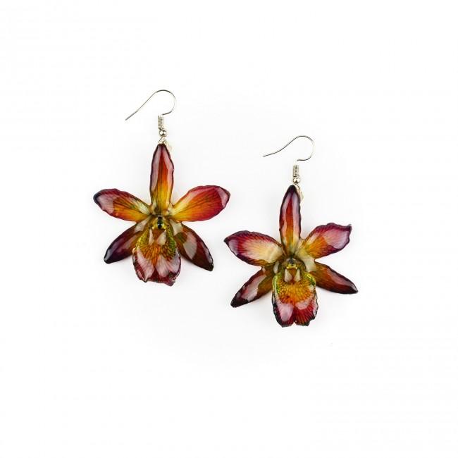 Обици мини Орхидея Катлея Сакура, лилави