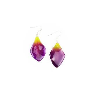 Обици листо Орхидея Дендорбиум Соня, лилаво-зелени
