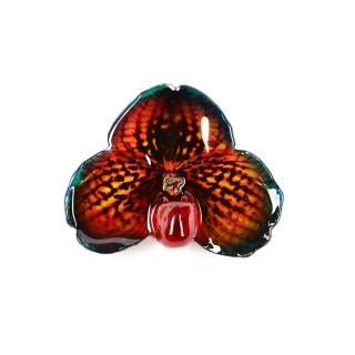 Медальон Орхидея Белатулум, червено бежово-синя