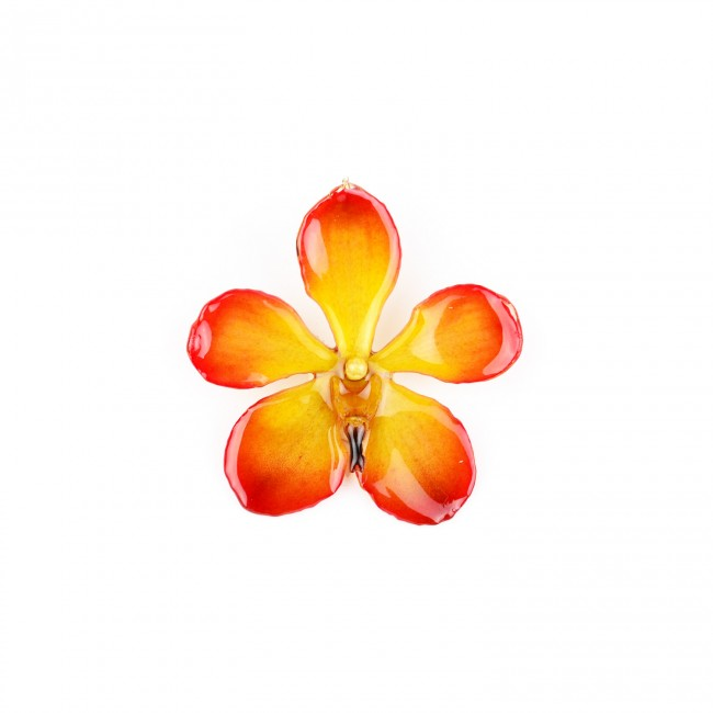 Медальон Орхидея Мокара, червено-жълта