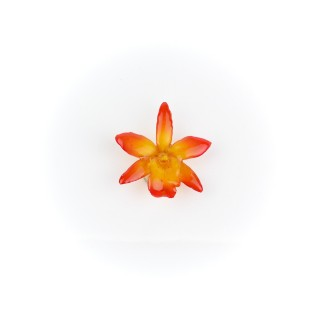 Медальон мини Орхидея Катлея Сакура, червено-оранжева