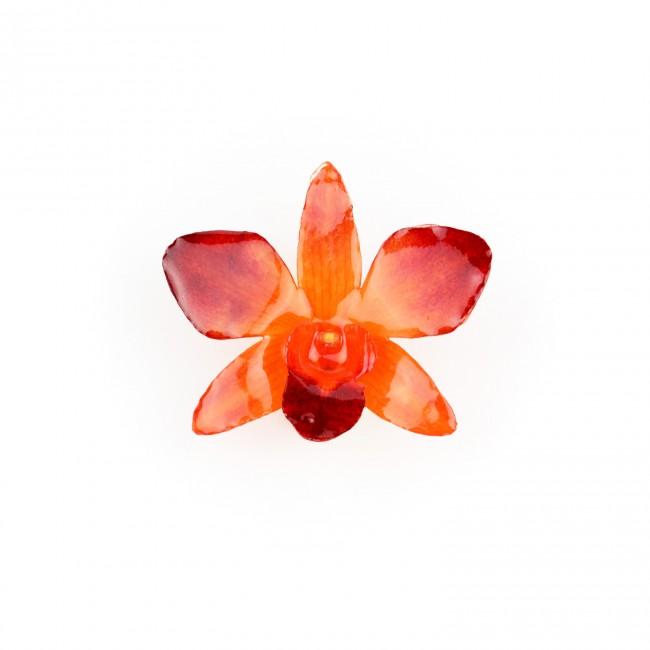 Медальон Орхидея Дендробиум, червено-оранжева