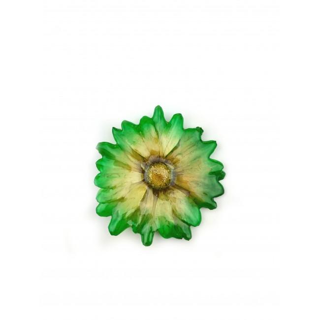 Медальон/брошка Хризантема Бенджамас, зелен