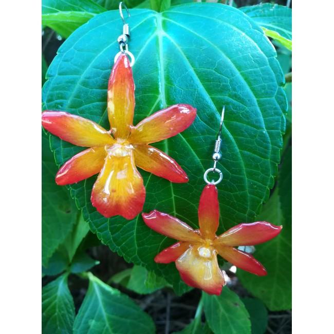 Обици мини Орхидея Катлея Сакура, мини, червено-оранжеви