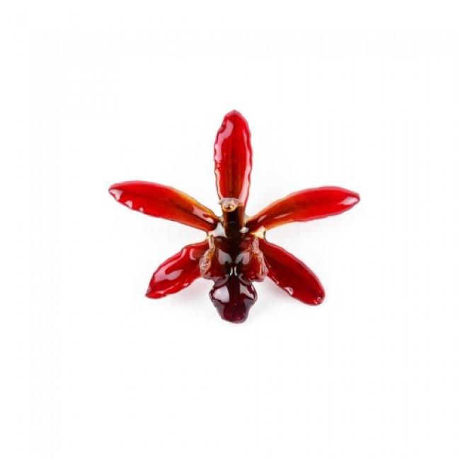 Медальон Орхидея Симбидиум, червена