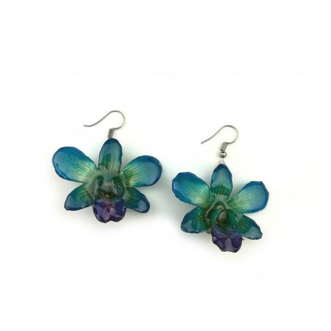 Обици Орхидея Дендробиум мини, сини