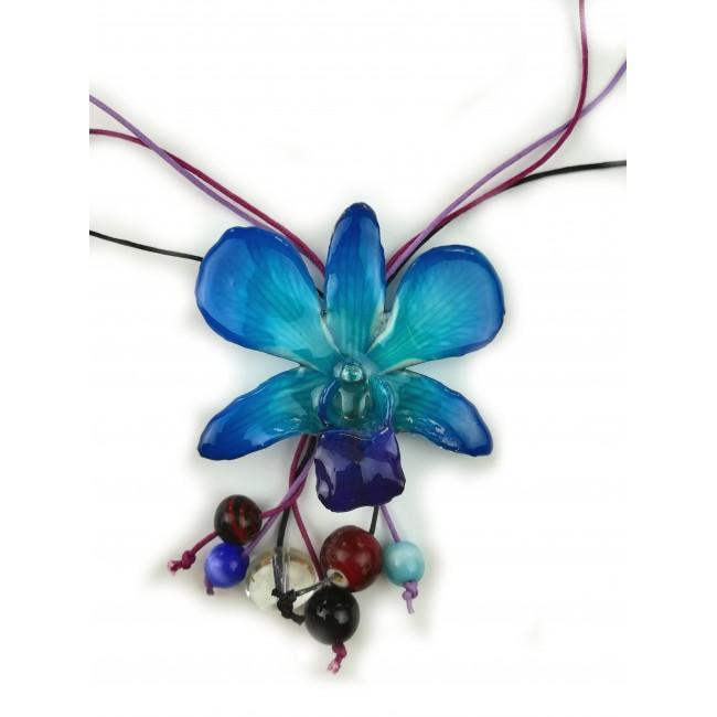 Колие с Орхидея Луси Дендробиум и мъниста, тюркоаз
