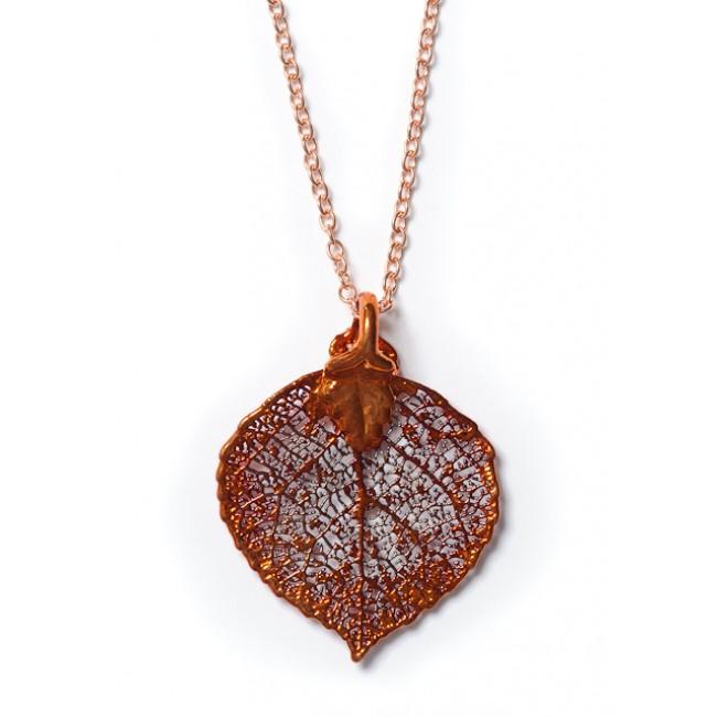 Медальон с листо от трепетлика, покрито с иридисцентна мед