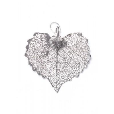 Висулка за медальон от посребрено листо топола