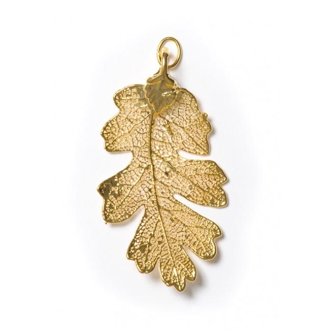 Висулка за медальон от позлатено листо дъб