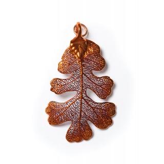 Висулка за медальон от листо от дъб, покрито с иридисцентна мед
