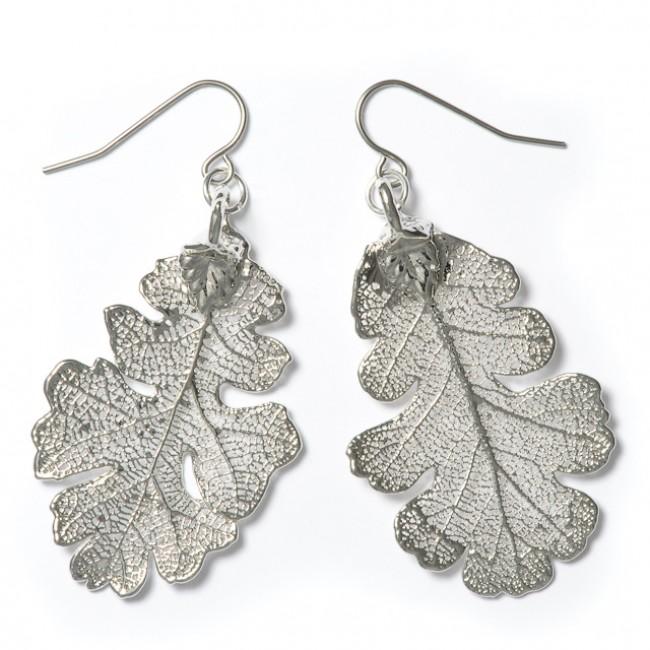 Обици от посребрени листа дъб, с кука