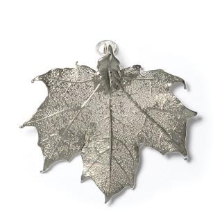 Висулка за медальон от посребрено листо клен
