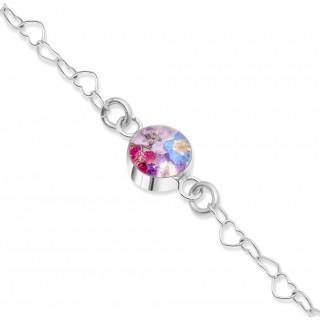 Сребърна гривна, верижка от сърца, кръг Виолетова омая