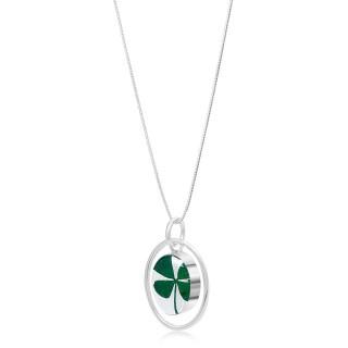 Сребърен медальон, овал в обръч, Четирилистна Детелина