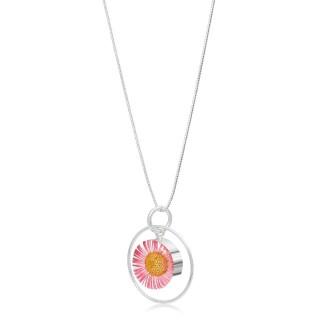 Сребърен медальон, кръг в обръч, Розова Маргарита