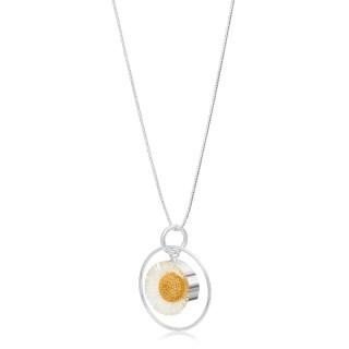 Сребърен медальон, кръг в обръч, Бяла Маргарита
