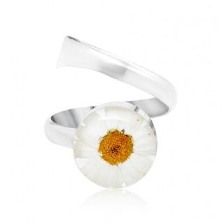 Сребърен пръстен, регулируем, кръг бяла Маргарита