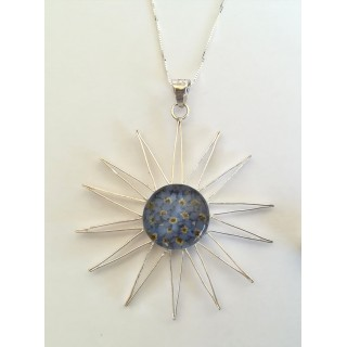 Сребърен медальон, слънце, голям, незабравка