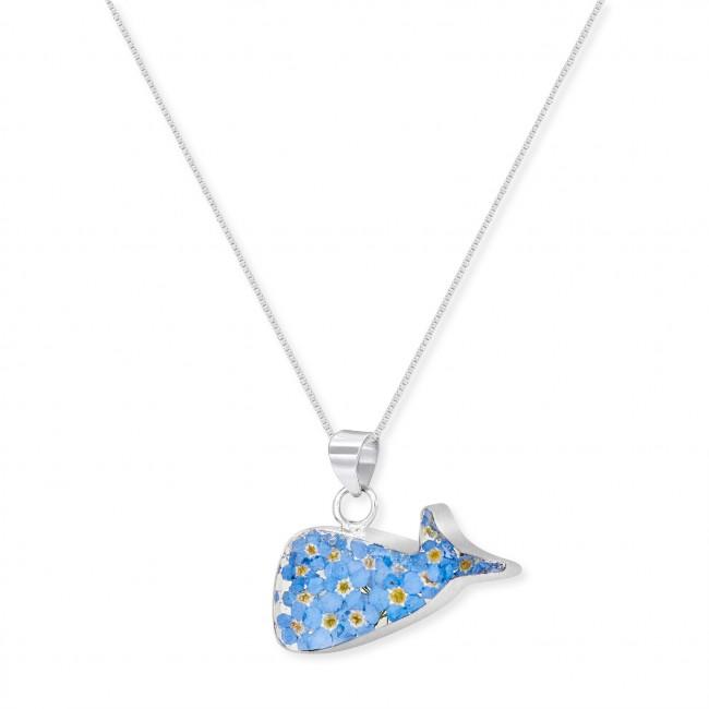 Сребърен медальон, кит, незабравка