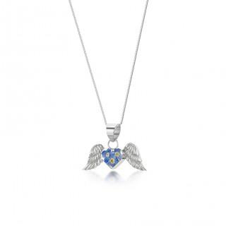 Сребърен медальон, ангелски крила, Незабравка