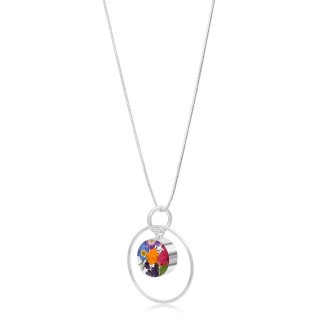 Сребърен медальон, кръг в обръч, микс