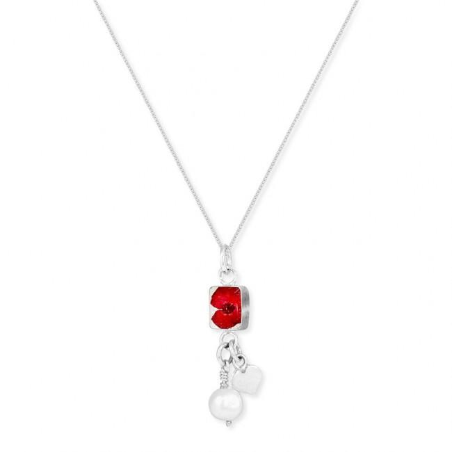 Сребърен медальон, правоъгълник с перла и сребърно сърце, Мак