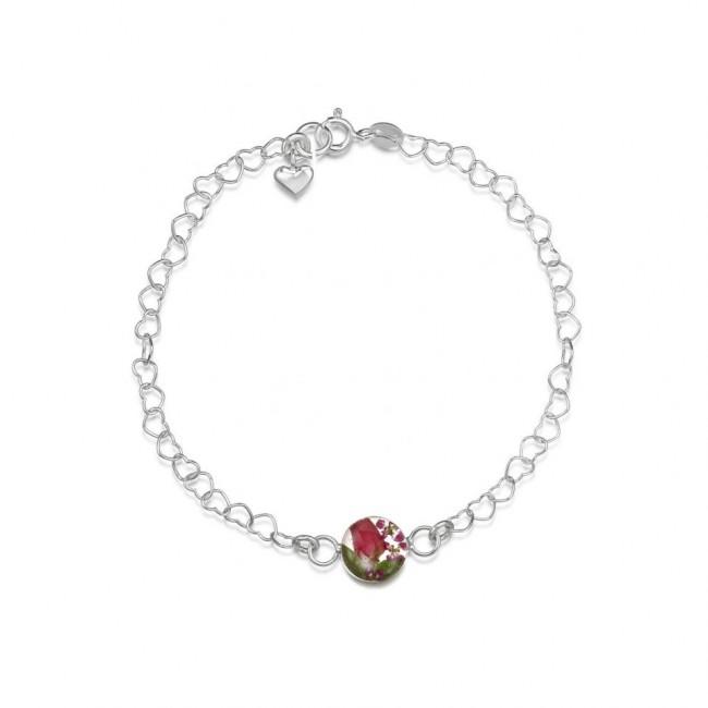 Сребърна гривна, верижка от сърца, с кръгъл елемент Микс с роза