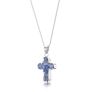 Сребърен медальон, кръст, среден, незабравка
