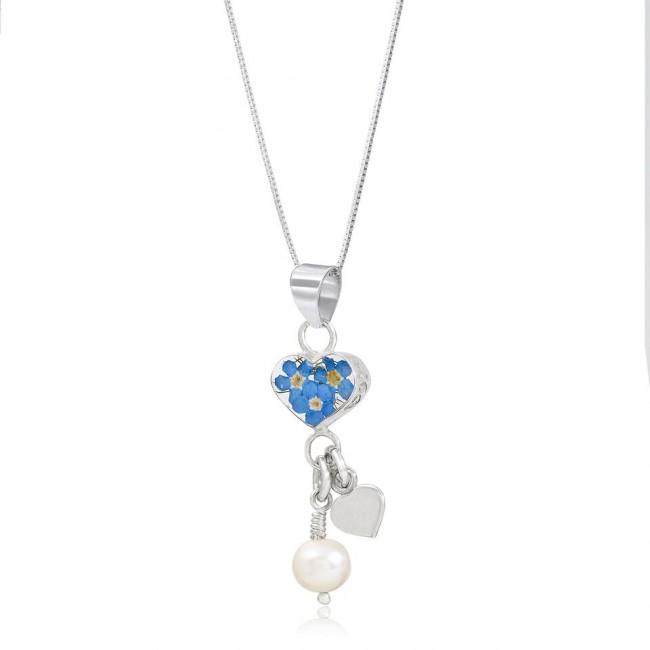 Сребърен медальон, сърце Незабравка с перла и сребърно сърце