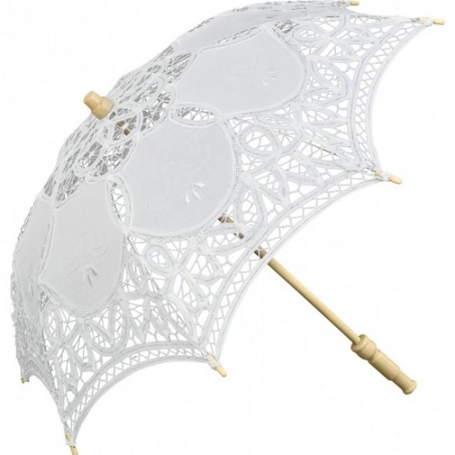 """Детски дантелен чадър """"Джули"""", бял"""
