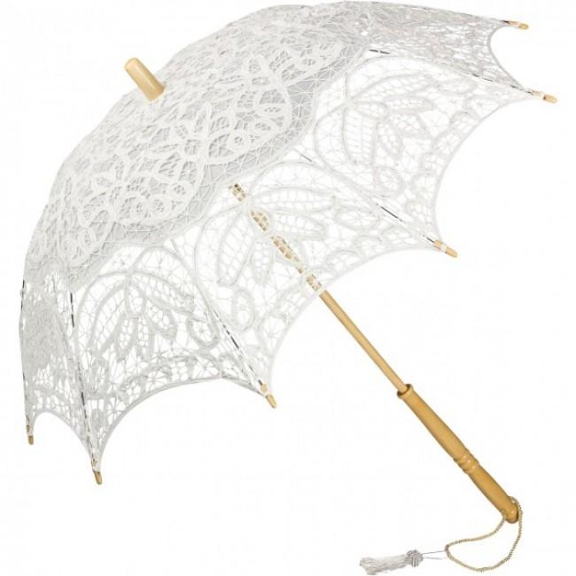 """Дантелен чадър """"Вивиен"""", бял"""