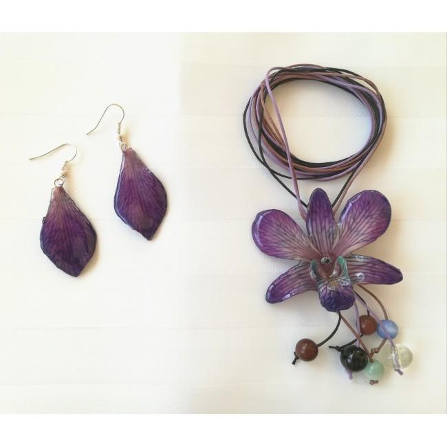 Обици и медальон от орхидеи, лилави -20%