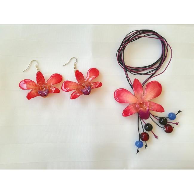 Обици и медальон от орхидеи, аленочервени -20%