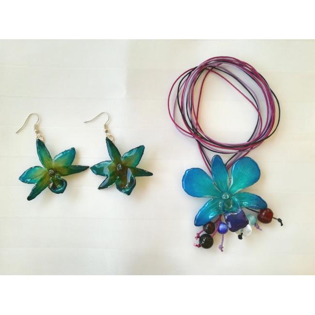 Обици и медальон от орхидеи, морскосини -20%