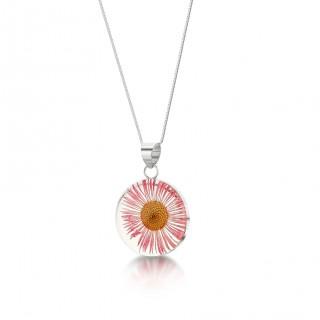 Сребърен медальон, голям кръг, Розова Маргарита