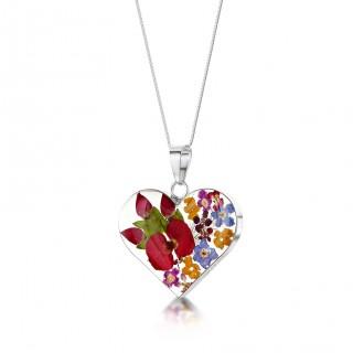 Сребърен медальон, сърце, голямо, микс с мак и роза