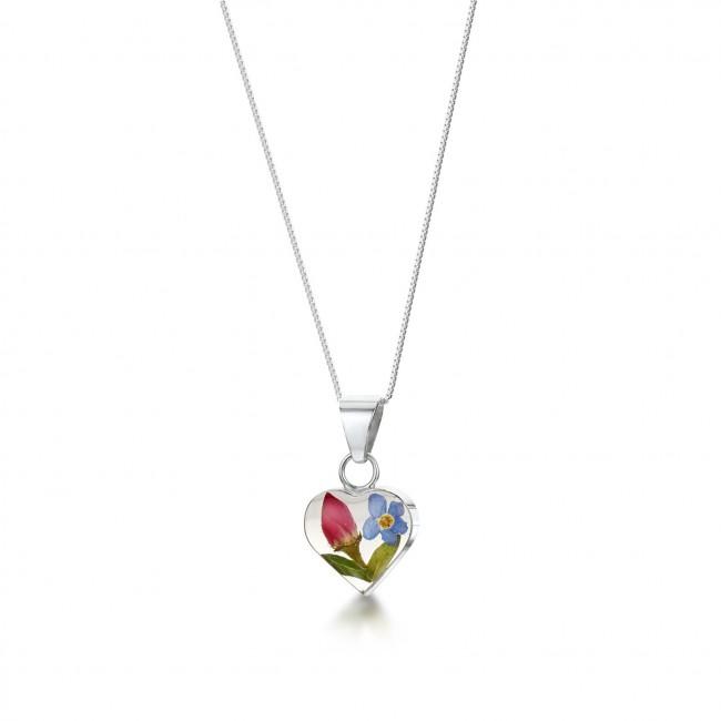 Сребърен медальон, сърце, много малък, роза и незабравка