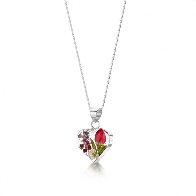 Сребърен медальон, сърце, малко, флора с  роза, микс