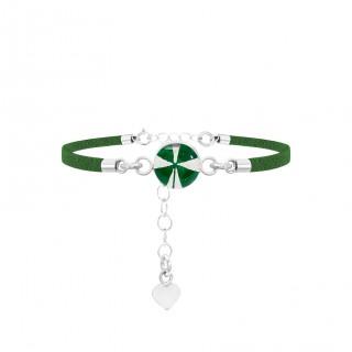 Гривна сребро и зелена кожа, кръг Четирилистна детелина и сребърно сърце